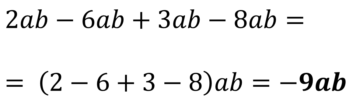 somma algebrica di monomi esempio 1