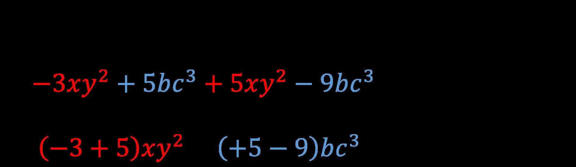 somma algebrica di monomi esempio 2